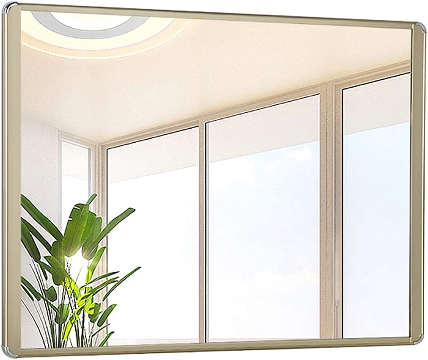 YANZHEN Mirror Wall-Mounted with Frame Bathroom Simple and Modern Make Up Durable No Deformation Aluminum Alloy, 5 color 2 Size (color   gold, Size   50x70cm)