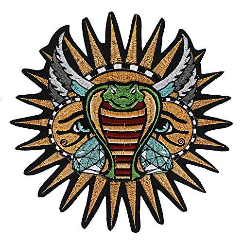 EMDOMO Parches de Serpiente para el Sol, Parches para Planchar para Chaqueta, Moto, Insignia de Espalda Bordada, 2 Piezas