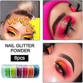Eyeshadow 6 Colors Nail Powder Lasting Shimmer Pigment Matte Eyeshadows Neon Luminous Powder Halloween DIY Glitter Eye Shadow Genekun