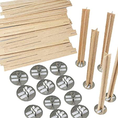 12Pcs 8mm x 90mm Candle Wood Wick with Sustainer Tab Candle Making Supply UK