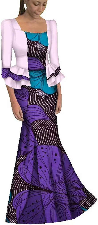 BintaRealWax Womens 3 4 Contrast Sleeve Ankara Maxi Dress African Party Long Dress