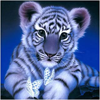 Pegcduu Diamantes de imitación de la Mariposa Tigre Bordado Hecho a Mano Pintura 5D Bricolaje Crystal Tiger PaintingCrystal Cruz Animal Puntada Resina Imagen decoración del hogar