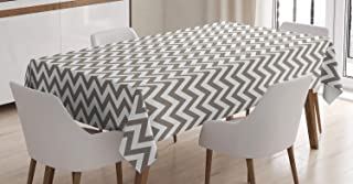 grey and white chevron tablecloth