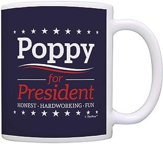 Grandpa Birthday Mugs Poppy for President Funny Fathers Day Mug Coffee Mug Tea Cup Blue