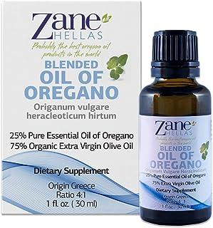 Zane Hellas 25% Oregano Oil. Pure Greek Essential Oil of Oregano .86% Min Carvacrol. 33mg Carvacrol Per Serving. Probably The Best Oregano Oil in The World. 1 fl. oz.- 30ml