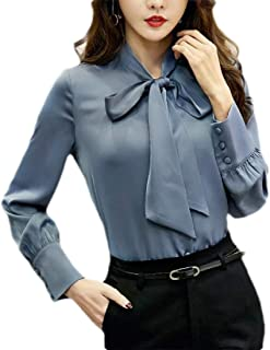 desolateness Womens Fashion Bow Tie Neck Long Sleeve Casual Office Work Chiffon Blouse Shirt
