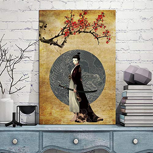 QianLei Wohnkultur Poster Modulaire afbeeldingen Japan Samurai Kimono Draak Tattoo Abstract -30X45 cm geen lijst