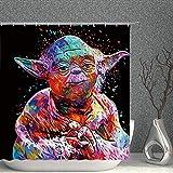 Star Wars Duschvorhang Bunte Master Yoda Monster Decor Schwarzer Stoff Badezimmer Gardinen Wasserdicht Polyester mit Haken 178 x 178 cm