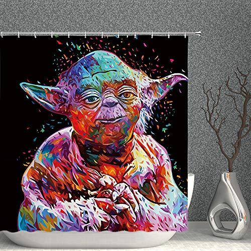 Star Wars Duschvorhang Bunte Master Yoda Monster Decor Schwarzer Stoff Badezimmer Vorhänge Wasserdicht Polyester mit Haken 178 x 178 cm