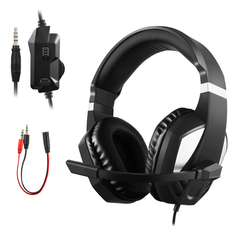 JAMSWALL 立体声游戏耳机适用于 Xbox One PS4-3.5 毫米有线头戴立体声游戏耳机带麦克风的音量控制适用于 PS4 PC 平板电脑笔记本电脑智能手机 Xbox One
