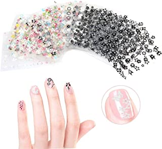 CINEEN 50 Hojas 3D Pegatina Decoracion para las Uñas Decal DIY Etiqueta Decoración Negro + Blanco + Multicolor
