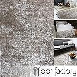 floor factory Moderner Teppich Delight Silber grau 120x170cm - Edler Designer Teppich mit flauschig weichem Flor
