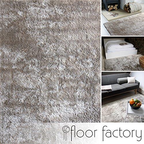 floor factory Moderner Teppich Delight Silber grau 140x200cm - edler Designer Teppich mit flauschig weichem Flor
