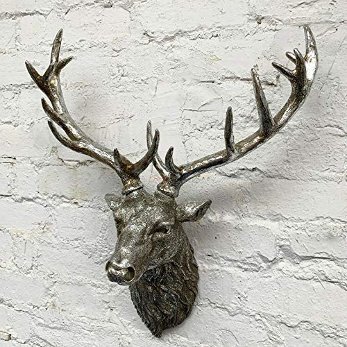 Darthome Ltd Antique Resin Reindeer Stags Antlers Wall Art Mounted Large Head Sculpture 55cm