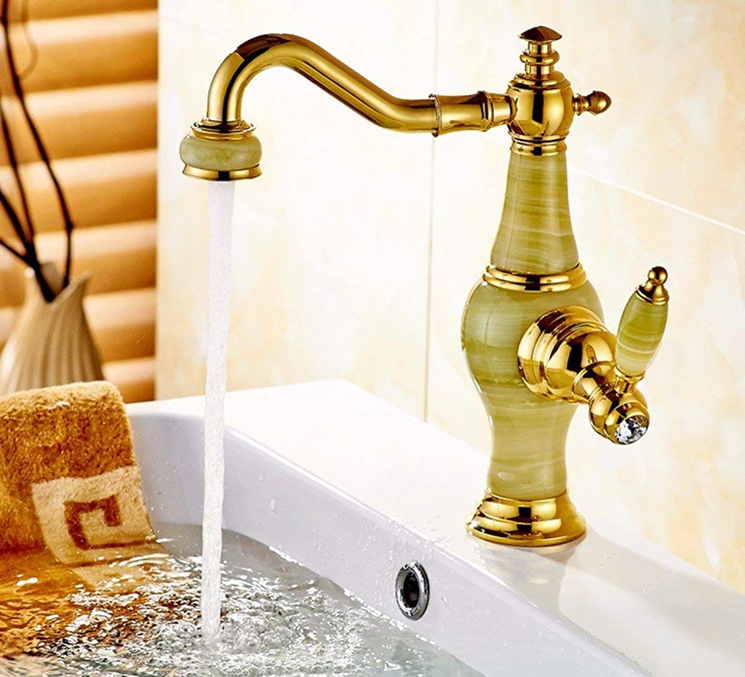 CFHJN HOME European style copper basin hot and cold washing the face of jade water taps