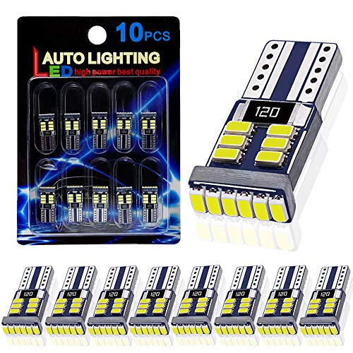 10PCS AutoLite Super Bright 194 T10 2825 Led Bulb, Interior Car Light Bulbs 168 W5W, Xenon White 6000K with CANBUS Error Free, Best for License Plate Light Led Dome Light Map Truck Door Courtesy Light