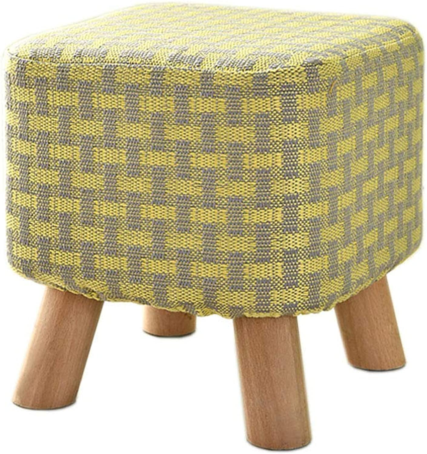 BRNEBN Small Low Stool Sofa UpholsteChange shoes Solid Wood Legs Wear shoes Fabric Bench 4 Legs Padded for Bedroom Living Room