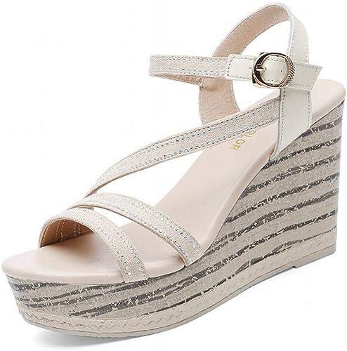LTN Ltd - sandals Slope avec Fond épais Sandales Muffin Bracelet Femme été Chaussures à Talon Haut en Cuir pour Les Les dames, Chamois, 37
