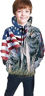 Wolf Flag Kids/Teen Girls' Boys' Hoodie,3D Print Pullover Sweatshirts