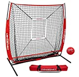 PowerNet 5x5 Practice Net + Strike Zone + Weighted Training Ball Bundle | Baseball Softball Coaching Aid | Compact Lightweight Ultra Portable | Team Color | Pitching Drills (Red)
