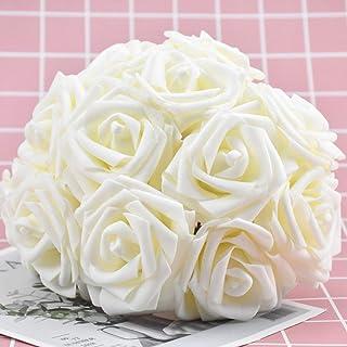 VINFUTUR 144 Pz Fiori Artificiali Rosa Artificiali Rose Finte Schiuma con Gambo per Bouquet da Sposa DIY Matrimoni Decorazioni di Festa Casa Centrotavola