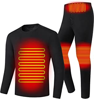 Heating Underwear Sets USB Electric Heated Thermal Long Sleeve T Shirts and Pants for Indoors, Outdoors - Washable - Witho...