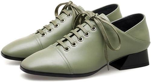 CBDGD Chaussures Femme Femme Femme Printemps et été en Cuir pour Les Les dames en Cuir à Talons Hauts Confortable Chaussure de Travail de Saison Chaussures Escarpins Noir Vert 34-39cm Talons Hauts 6e5
