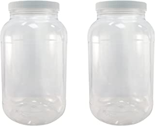 Pinnacle Mercantile Crystal Clear PET Plastic Jars Containers with Screw on Lids 1 gallon Set of 2 Wide Mouth
