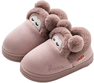 Boy's Girl's Cute Winter House Slippers Indoor Warm Fur Lined Home Slippers Outdoor Snow Boots Size (Toddler/Little Kid)