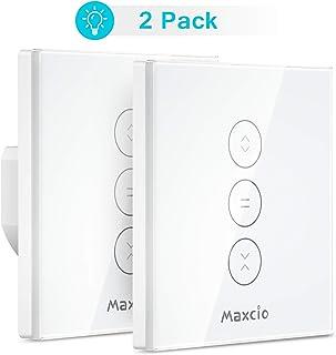 【LED Controlable】WiFi Interruptor Persiana, Maxcio Interruptor Inteligente Compatible con Alexa y Google Home, Control de APP y Función de Temporizador, para Motor Persiana, Motor de Obturador