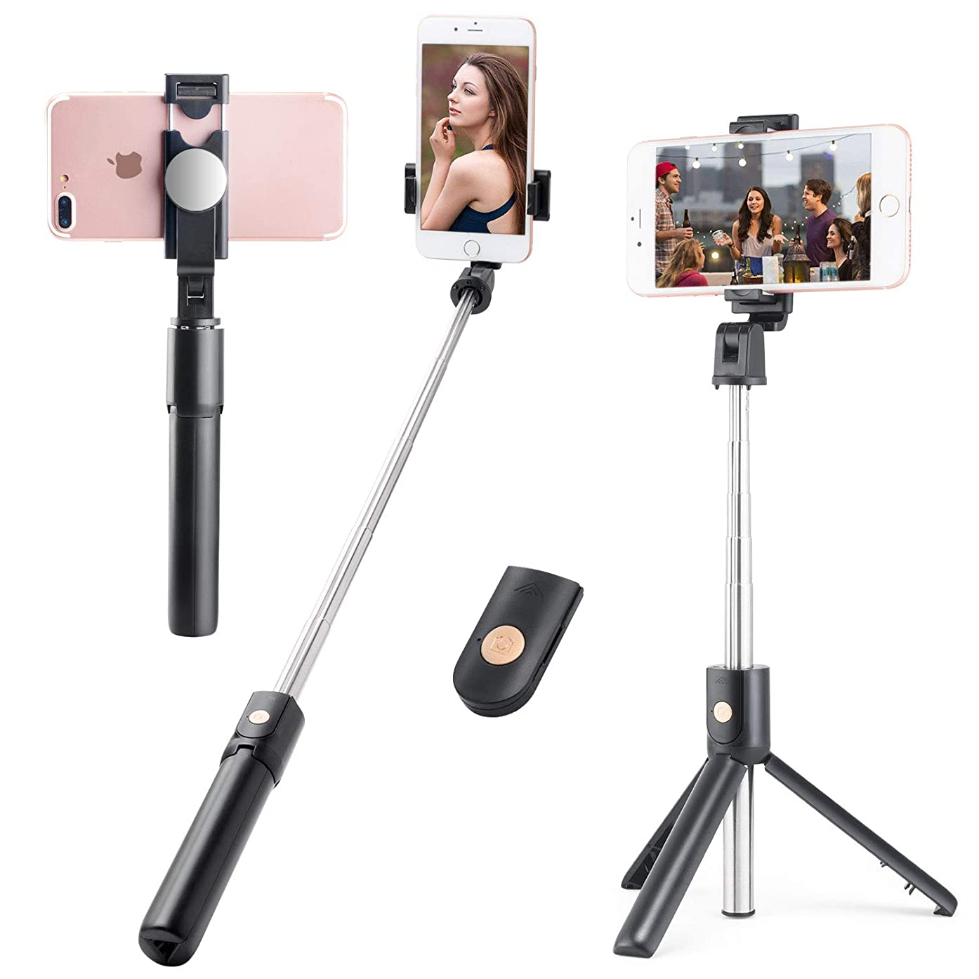 WIYFA Selfie Stick Tripod Stand Holder Extendable with Bluetooth Remote 360°Rotatable Phone Holder with Back View Mirror-Black 02