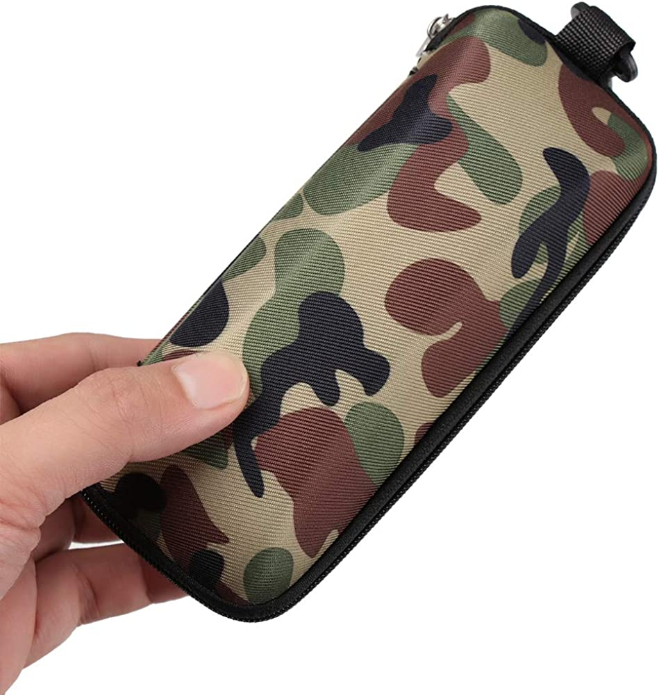 Ulie Unisex Green camouflage Semi Hard Eyeglass Case Protective for Eyeglasses and Sunglasses With Zipper Closure And Hook Portable Travel