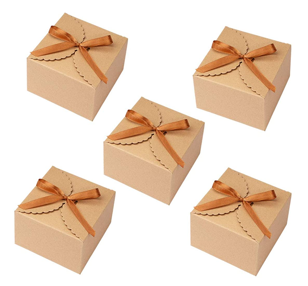 Sdootjewelry 50 Pcs Kraft Paper Candy Favor Boxes, Decorative Treat Box with a Roll of Brown Ribbon Party Wedding Birthday Favor Gift Boxes
