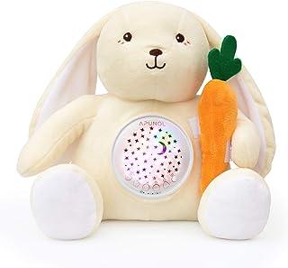 Veilleuse Bébé Musicale et Lumineuse, APUNOL Rechargeable Peluche Bebe Lapin Projecteur pour dormir lampe de projection en...