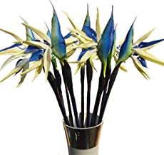 Calcifer 31.50'' Real Touch Bird of Paradise Artificial Flowers Bouquet for Home Garden Decoration/Wedding Party Decor (Package Quantity: 5 Stems, Blue)