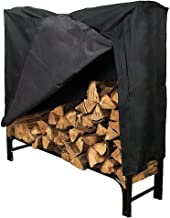 Sunnydaze 4-Foot Firewood Log Rack with Cover Combo, Outdoor Wood Storage Holder, Black