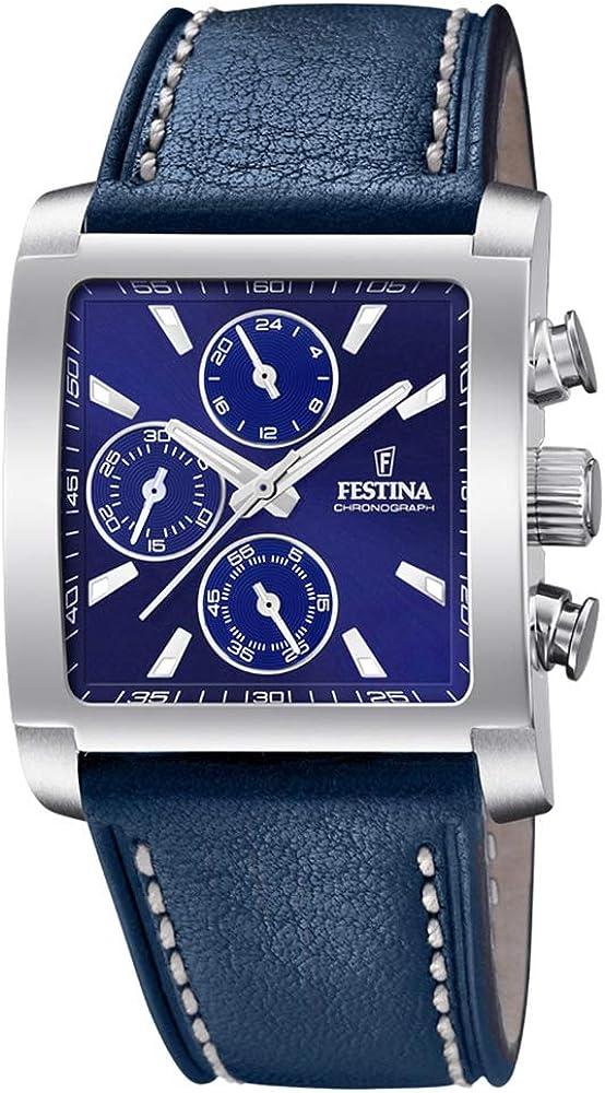 Festina orologio cronografo da uomo con cassa in acciaio inossidabile e cinturino in vera pelle F20424/2