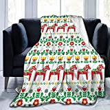 KL Decor Flannel Throw Blankets,Manta De Sofá Liviana Sueca Dala Horse para Padres Adultos Descansa,102x127cm