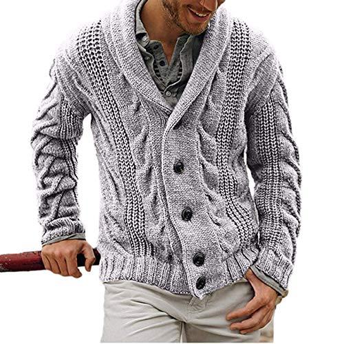 Suéter de un Solo Pecho con Solapa para Hombre Color sólido Manga Larga Moda Cómodo clásico Chaqueta de Punto Trenzada Regular S