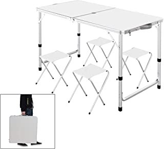 Outdoor Picnic Table, Portable Height Adjustable Aluminum Lightweight Camping Travel Party Dining Garden Desk Table with 4 Folding Stools & Umbrella Hole, Picnics, Camping Trips, Buffets or Barbecues