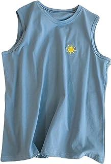 (BaLuoTe)メンズ タンクトップ 夏 薄手 tシャツ パーカー ノースリーブ 無地 かわいい カップル トップス ゆったり スポーツ トレーニングウェア カジュアル おしゃれ 男性用