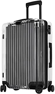 20 Inch Transparent Suitcase,Travel Luggage Trolley Bag for Business Work Men Student Cabin with Wheel and TSA Lock