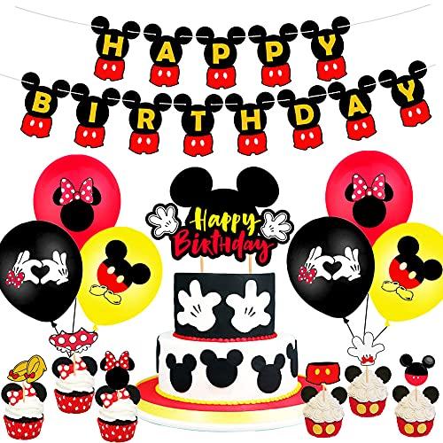 26PCS Mickey Globo,OYSJ Decoraciones de cumpleaños de Mickey Mouse,Decoraciones de Fiesta temática Rosa de Mickey para Decoración de Fiesta de Cumpleaños