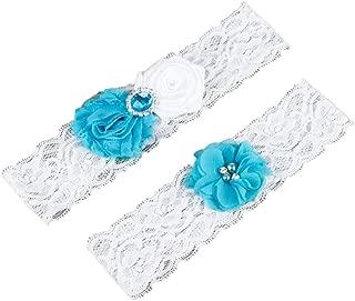 auguswu Women White Wedding Garters for Bride Lace 2 Pcs Sets
