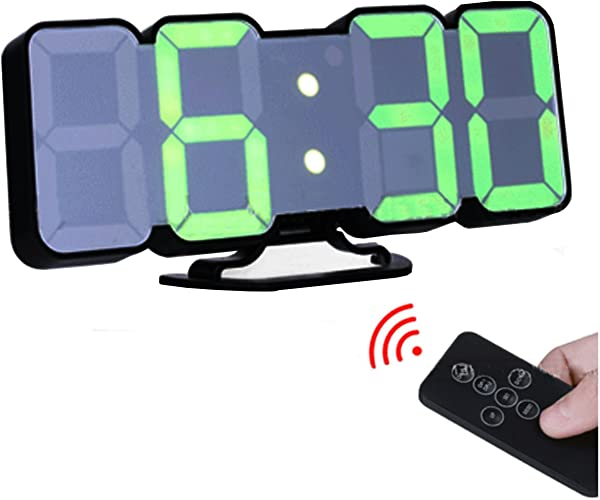 EAAGD 3D Wireless Remote Digital Wall Alarm Clock With 115 Color Variations Of LED Digital Voice Control Mode Remote Controller 3 Levels Of Brightness To Adjust Black