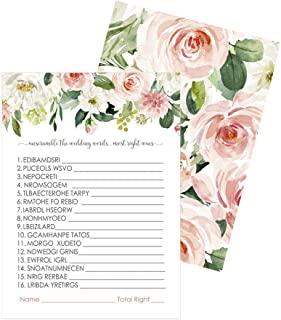 Graceful Floral Bridal Shower Games for Guests - 25 Word Scramble Activity Cards - Rustic Wedding Theme