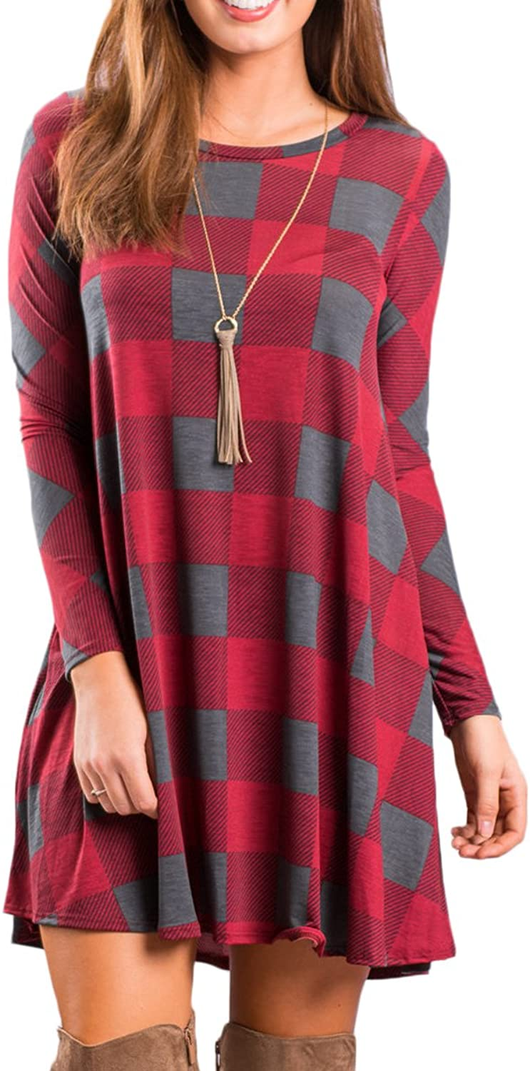 BOOSOULY Women Long Sleeve Geometric Pattern Pocket Fit and Flare Dresses for Women Red 2 S