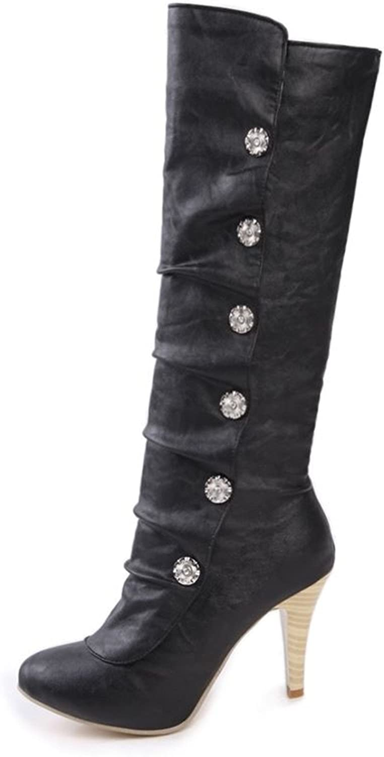Kenavinca Big Size 34-43 Knee High Boots Stiletto High Heels Round Toe PU Soft Leather Black Women Boots