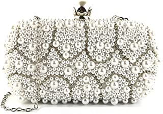 Women's One Shoulder Banquet Bag 2019 New Beaded Evening Bag Ladies Beaded Clutch Evening Bag(FM),White