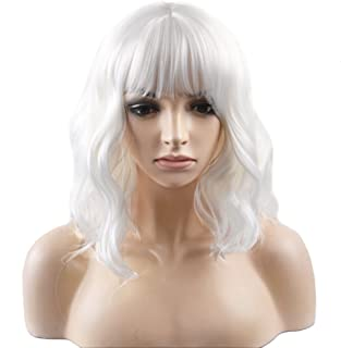 BERON 14'' Short Curly Women Girl's Charming Synthetic Wig with Air Bangs Wig Cap Included (White)